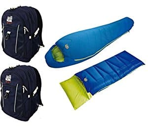 High Peak USA Alpinizmo Summit 0 + Pilot 0 Sleeping Bags with 2 Hiking Backpacks Combo, Blue, One Size For $37.50