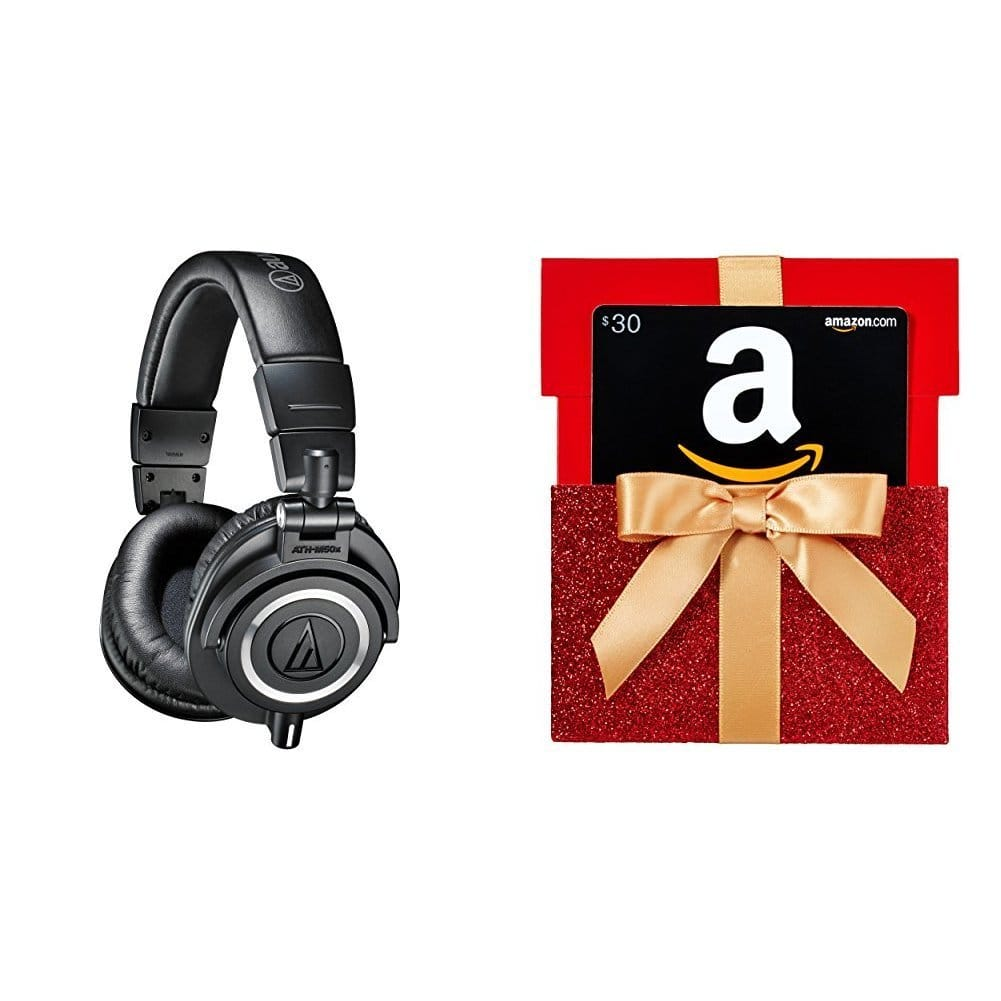 Audio Technical ATH M50X Headphones on sale for $129 + $30 Gift Card on Amazon