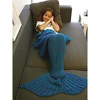Knitted Mermaid Tail Design Blanket: Adults $7.80 or Kids