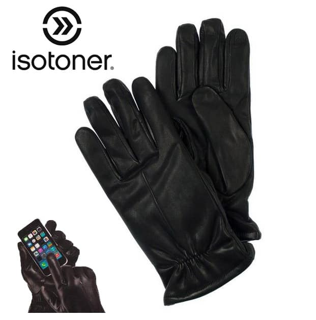Isotoner Men's Leather SmarTouch Gloves (M-XL) $10 + free shipping