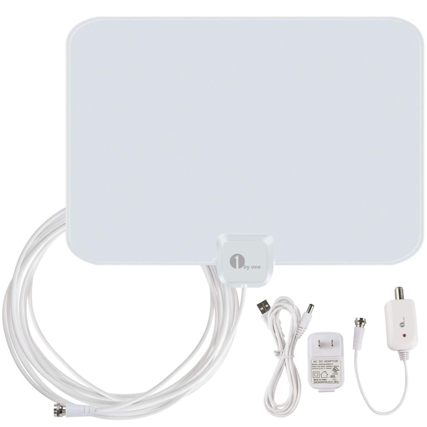 1byone OUS00-0562 Amplified HDTV Antenna 50 Miles - $19.99 AC - Free ship with Amazon Prime