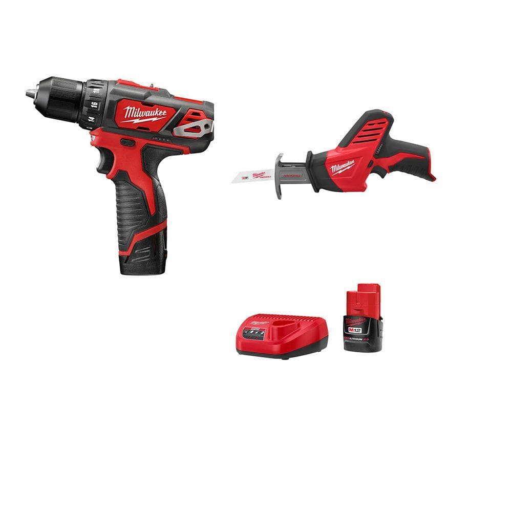 """$99 Milwaukee M12 3/8"""" Drill and Hackzall reciprocating saw, w/2 batteries and charger from Home Depot, Free Shipping"""
