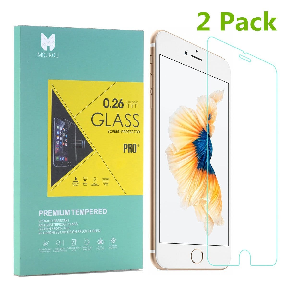 2-Pack MouKou Apple iPhone 6 Plus Tempered Glass Screen Protector  $1.90