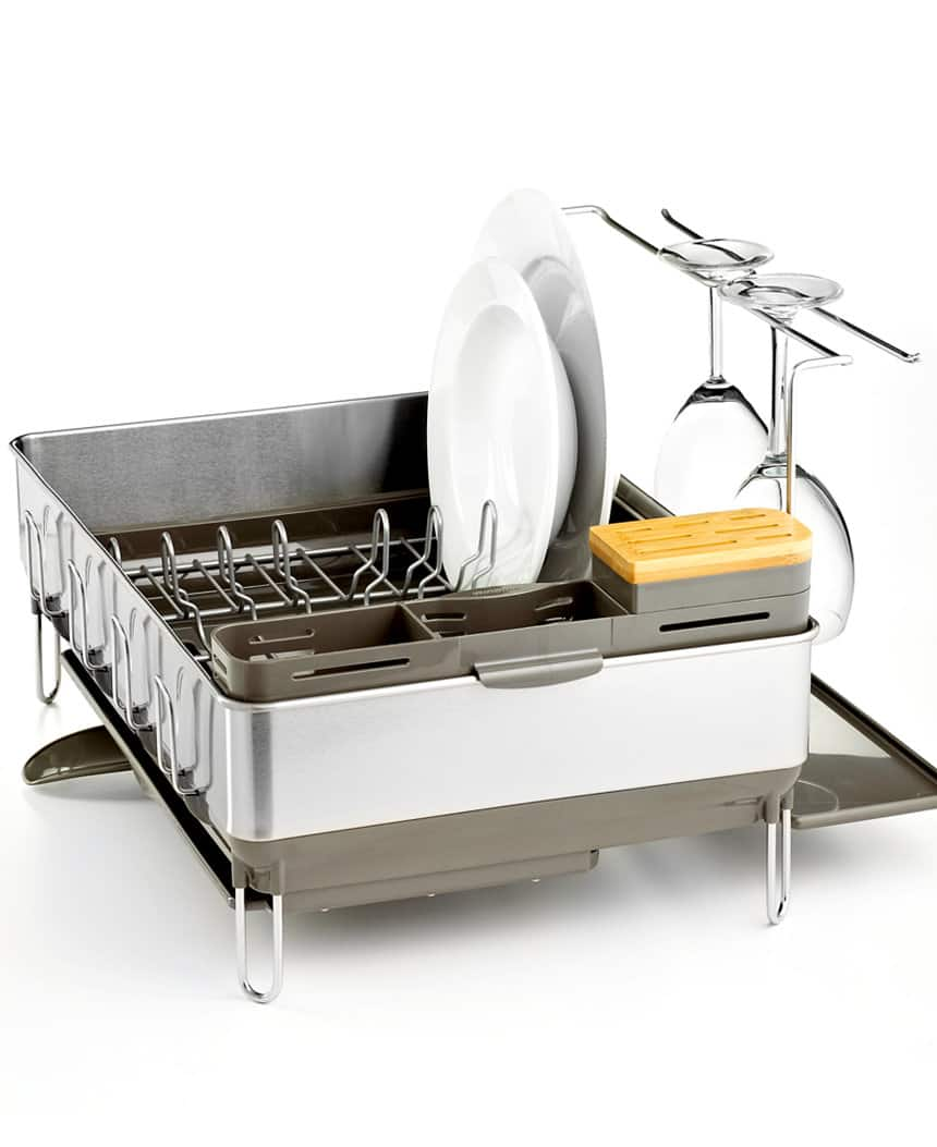 Simplehuman Steel Frame Dishrack w/ Wine Glass Holder  $60