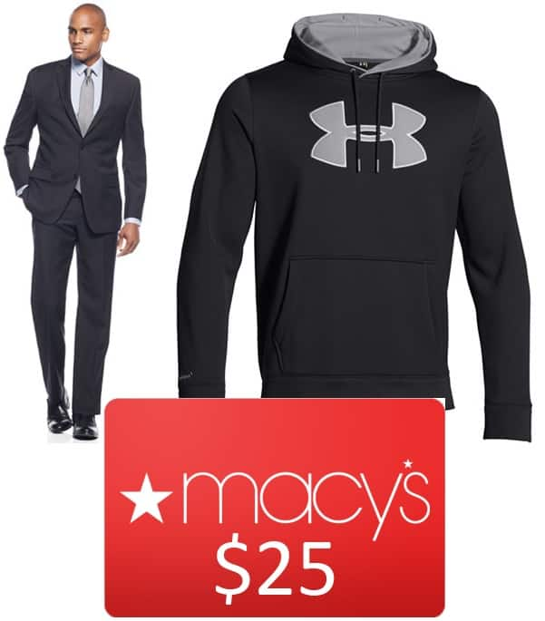 DKNY or Tasso Elba Suit + Under Armour Hoodie + $25 Macy's GC  $103 after Slickdeals Rebate + Free S&H