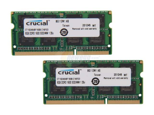 16GB (2x8GB) Crucial DDR3 1600 Laptop Memory  $51 & More + Free S&H