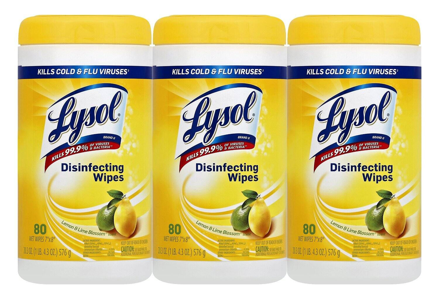 Lysol Disinfecting Wipes Value Pack, Lemon and Lime Blossom, 240 Count $6.59 or less / ac / fs w/S&S (@5%) @ amazon