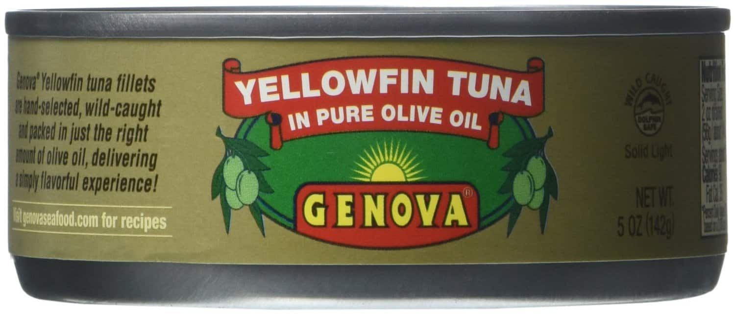 Genova Yellowfin Tonno (tuna) in Pure Olive Oil, 5-Ounce Cans (Pack of 24) - $32.92 Amazon