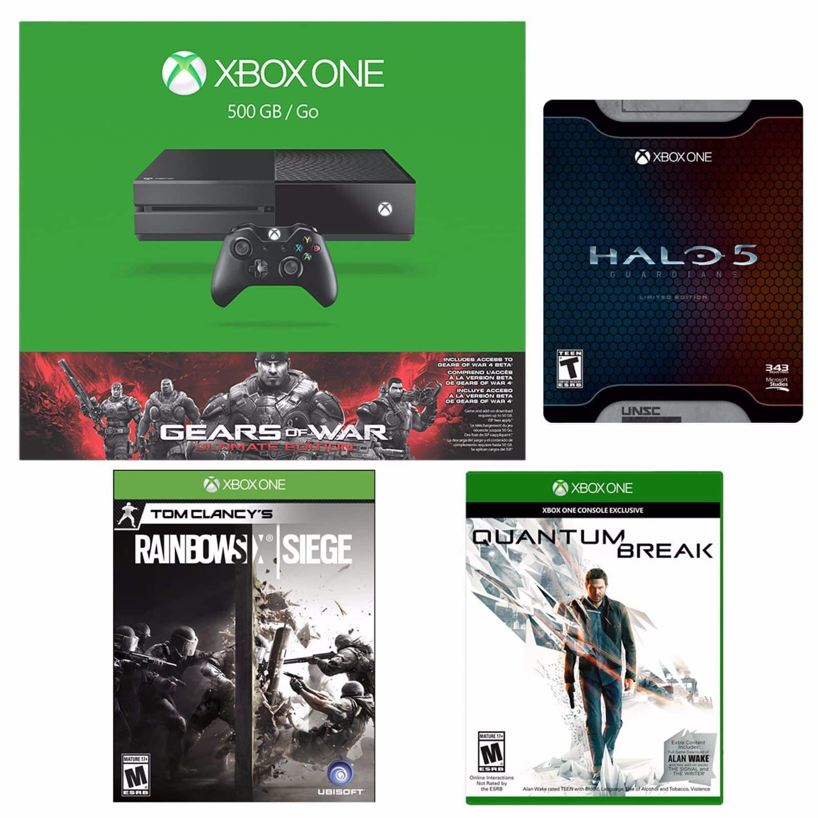 Xbox One 500GB Gears of War Console+Quantum Break+Halo Limited+Rainbow Six Siege $350 + Free Shipping! (eBay Daily Deal)