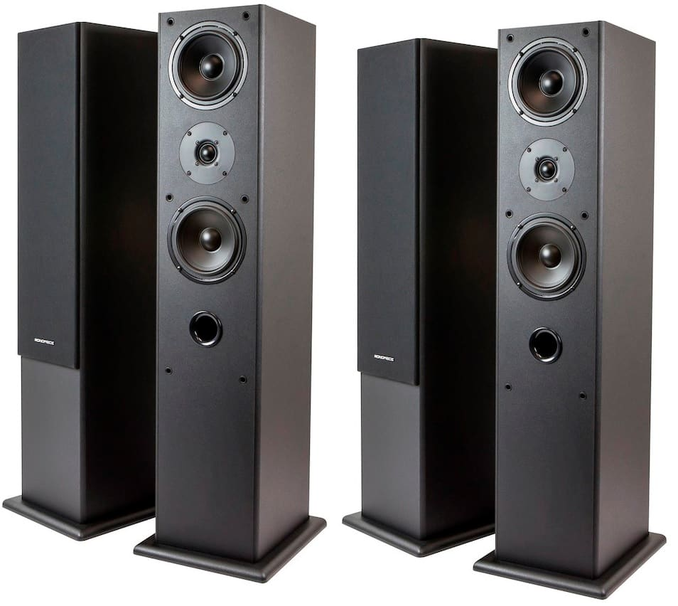 "Monoprice Premium Dual 5.25"" 2-Way Tower Speakers 4 for $80 + Free shipping ($20 each when you buy 4)"