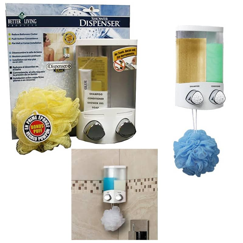 Better Living Products Duo Shower Dispenser w/ Bonus Shower Puff $6.50 + free shipping (Good for shampoo, conditioner or body wash storage)
