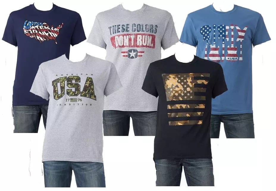 Men's Patriotic Graphic Tees: 5 for $12.75 + Free Store Pickup at Kohls ($2.55 each when you buy 5)