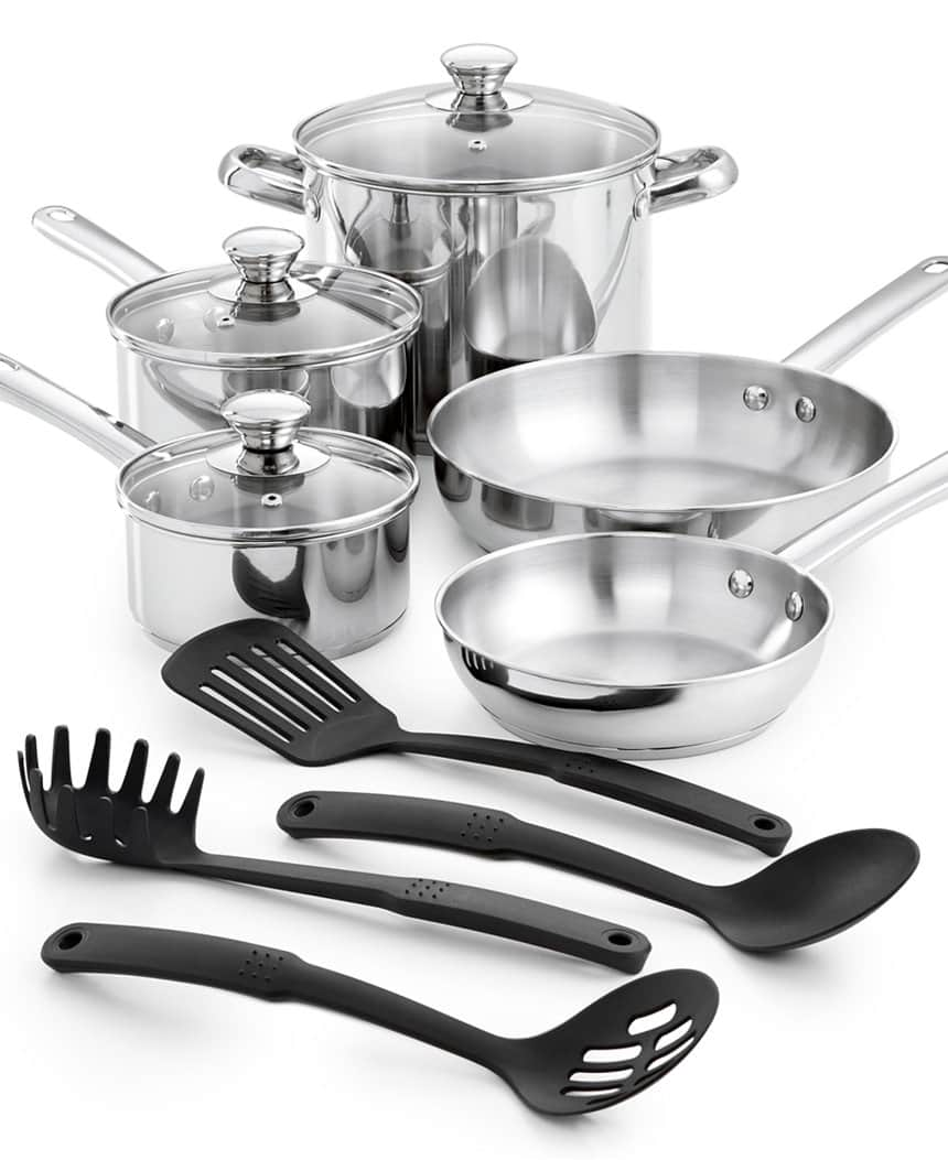 12-Piece Tools of the Trade Stainless Steel or Nonstick Cookware Set $20 after $10 rebate + Free shipping, More