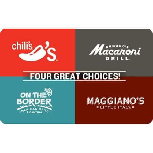 $40 for $50 Brinker 4-Choice Gift Card (includes Chili's, Macaroni Grill, On the Border, and Maggiano's) Email Delivery