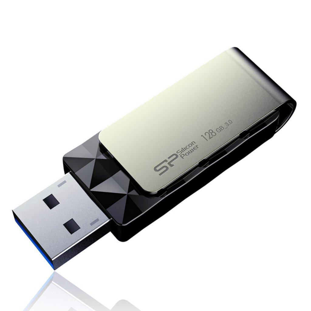 128GB Silicon Power Blaze B30 USB 3.0 Swivel Flash Drive  $9