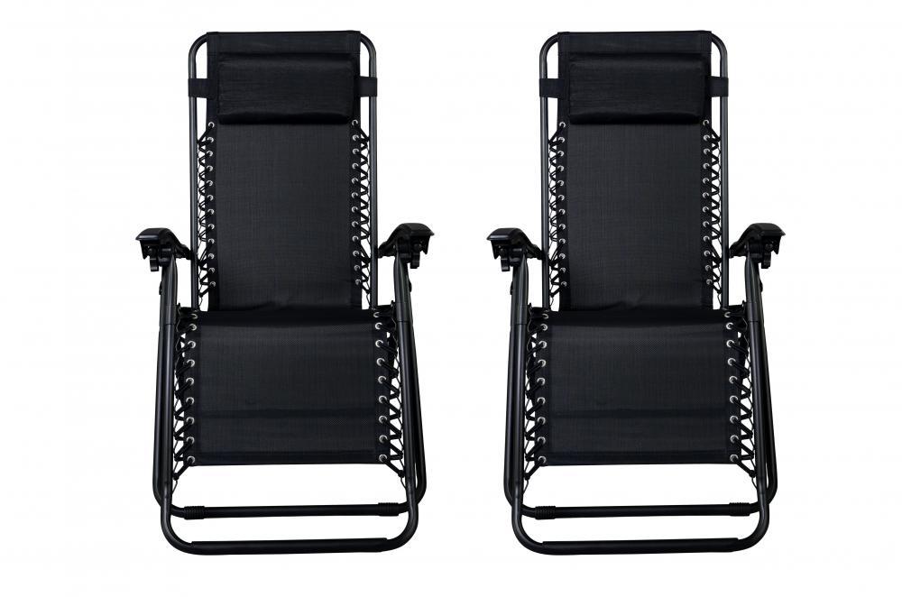 2-Pack Zero Gravity Lounge Patio Chairs (Black)  $50 + Free Shipping