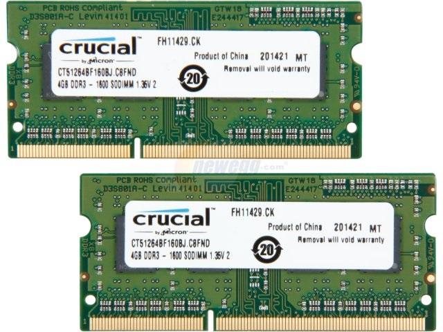 8GB (2x4GB) Crucial DDR3L 1600 Laptop Memory  $25 & More + Free S&H