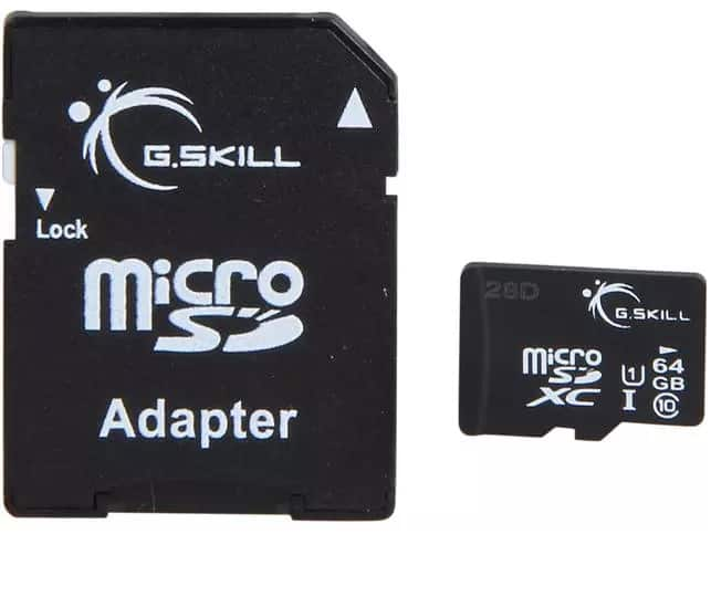 64 GB G.SKILL Class 10 UHS-1 microSDXC Flash Card with Adapter for $13.99 AC + Free Shipping @ Newegg.com