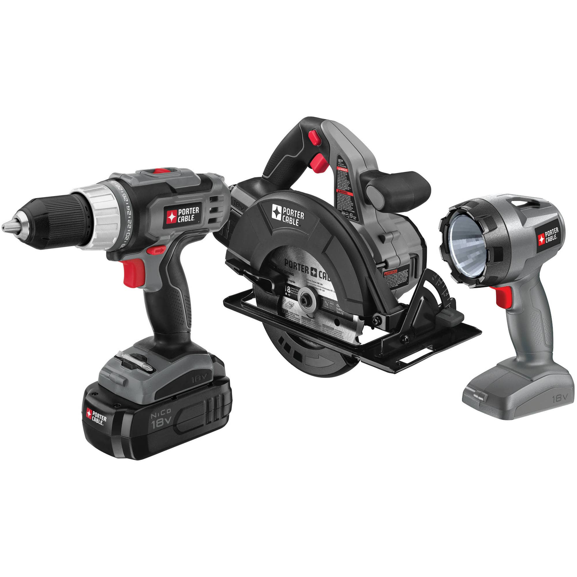 3-Piece Porter-Cable 18 Volt Ni-Cad Cordless Tool Combo Kit (Drill Driver/Circular Saw/Flashlight/Battery/Charger) $49 + Free Store Pickup Walmart.com