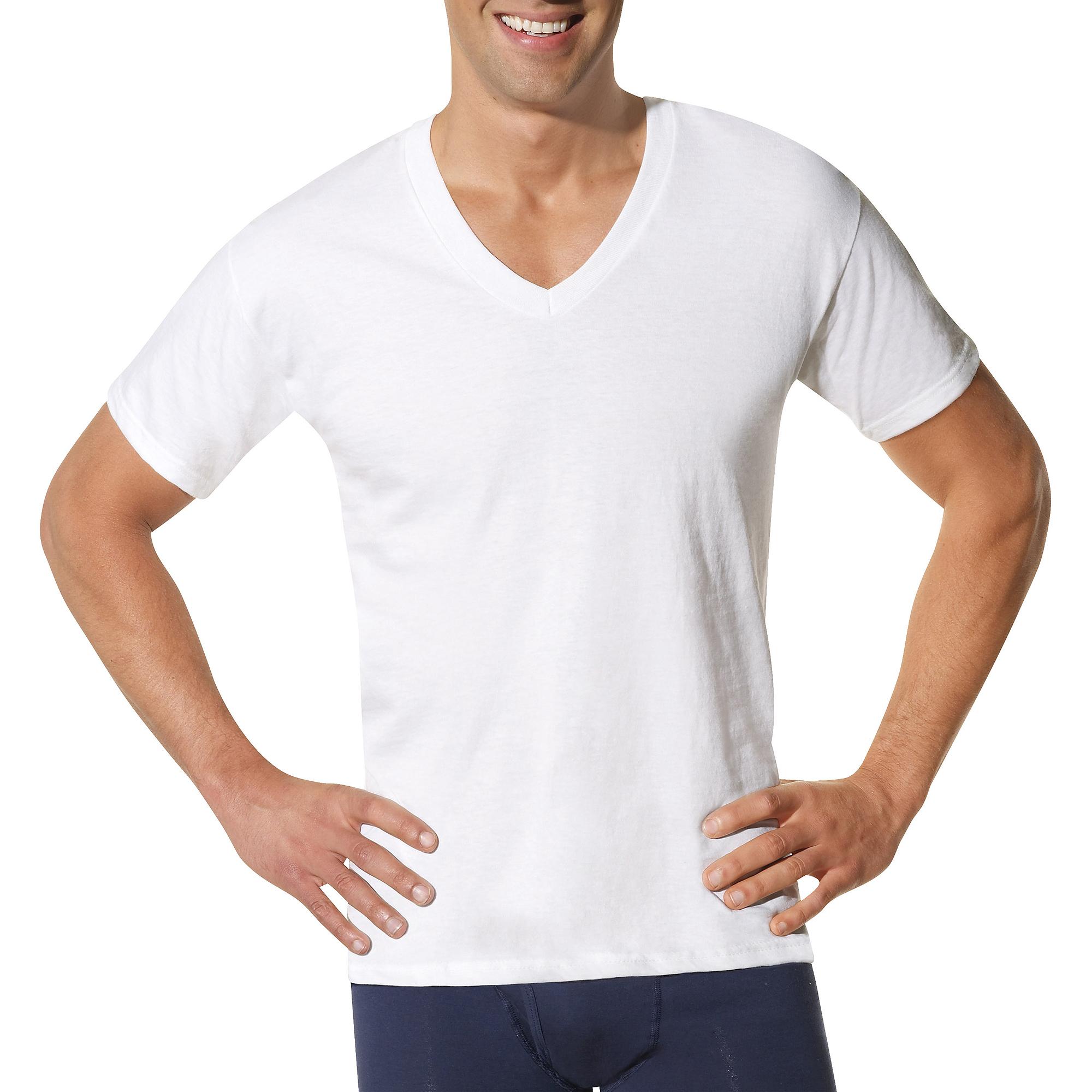 9-Pack Hanes Men's ComfortSoft Tagless V-Neck T-Shirts (White)  $12.90 + Free Shipping