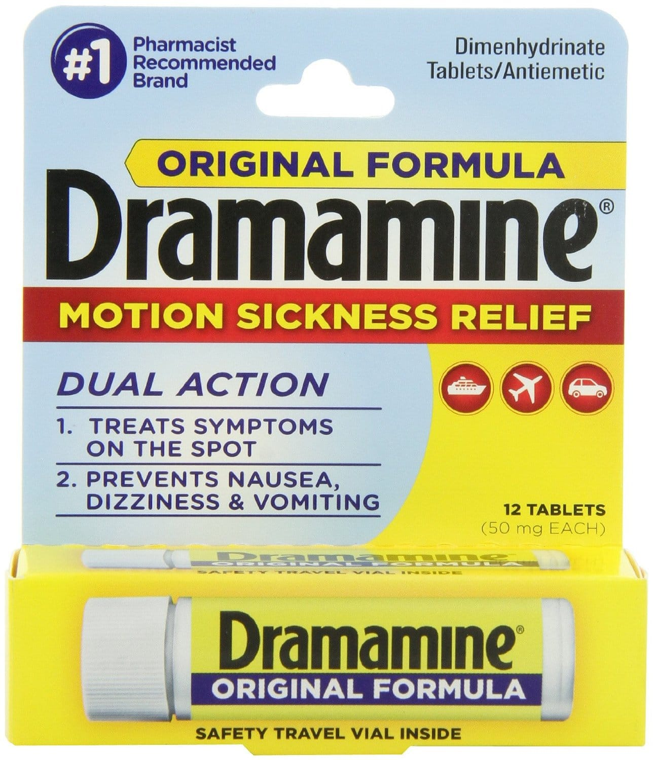 Dramamine Motion Sickness Relief Original Formula, 50 mg, 12 Count $3.22 or $2.88 Amazon s&s