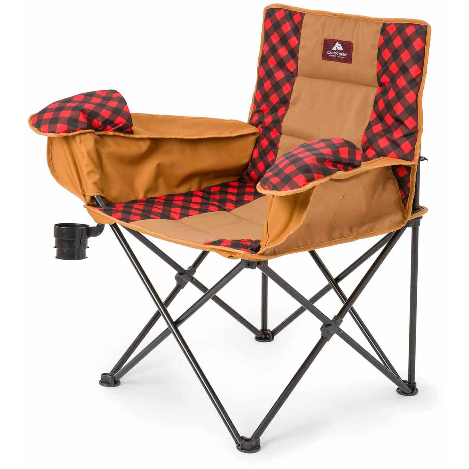 Ozark Trail Cold Weather Chair with Steel Frame, Blue/Red/Warm Gray - $9.97