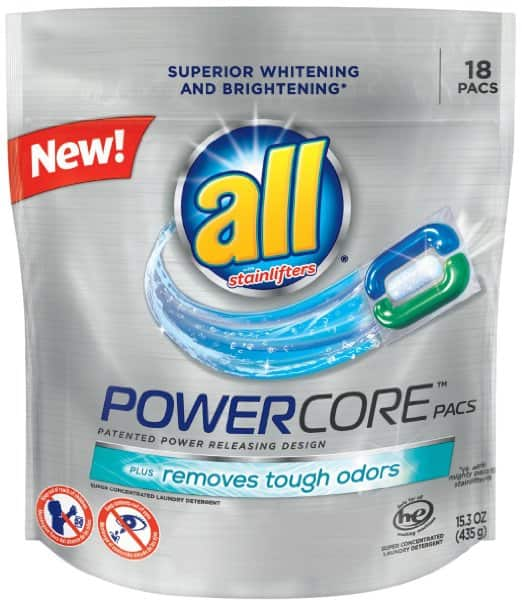 All POWERCORE 18ct Laundry Detergent Pacs - OXI, Restore & Protect or Tough Odor  - $2.77 or less AC w/S&S