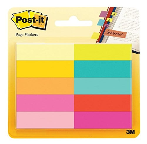 """Post-it Page Markers, 1/2"""" x 1 3/4"""" w/ 50 Sheets (10 Pack) - $3 Amazon"""