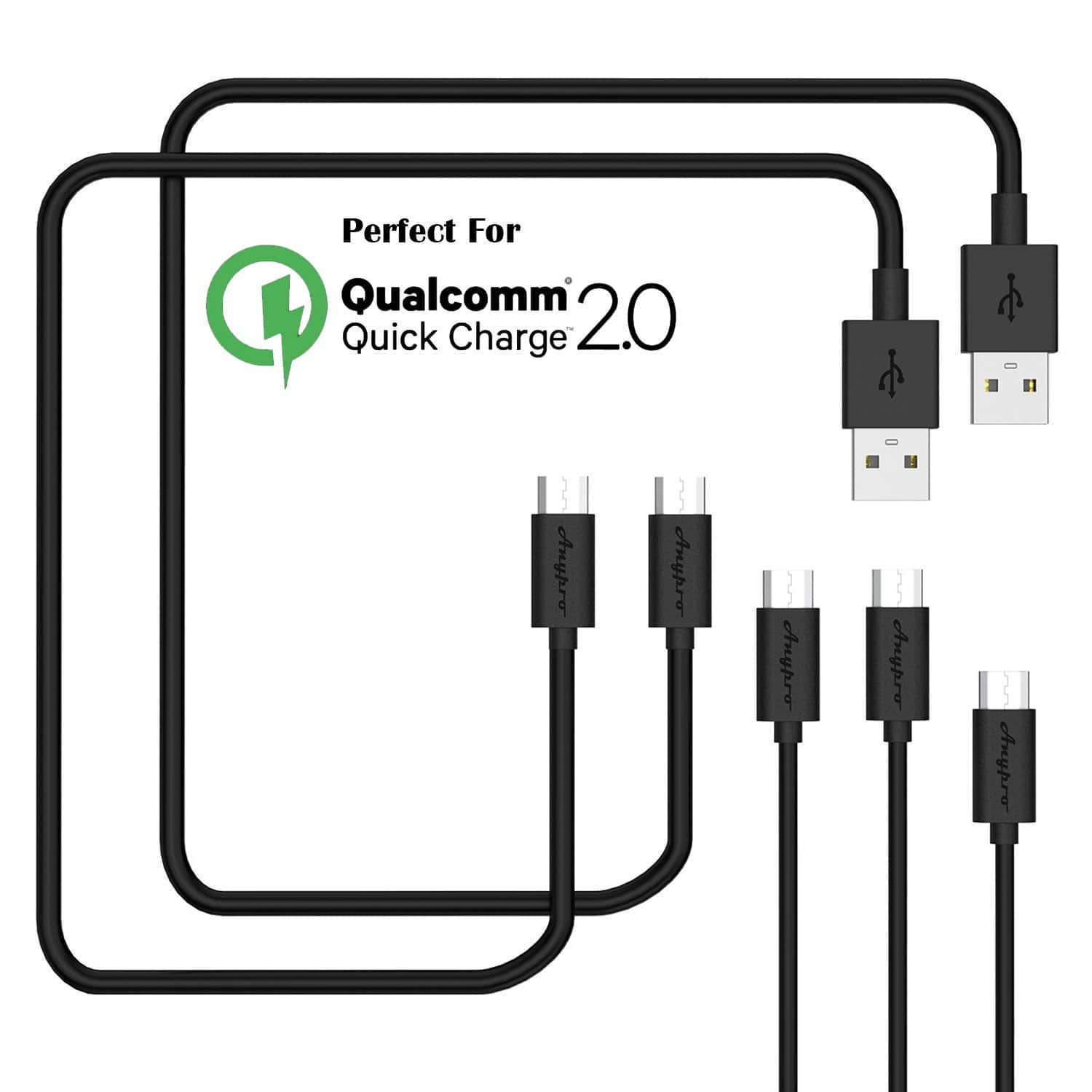 5-Pack Anypro Micro USB Quick Charge Cables (2×10ft, 2×3.3ft, and 1×1ft) for $3 AC + FSSS!