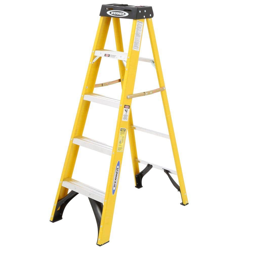 Werner 5 Fiberglass Type Ii Step Ladder 225 Lb Duty