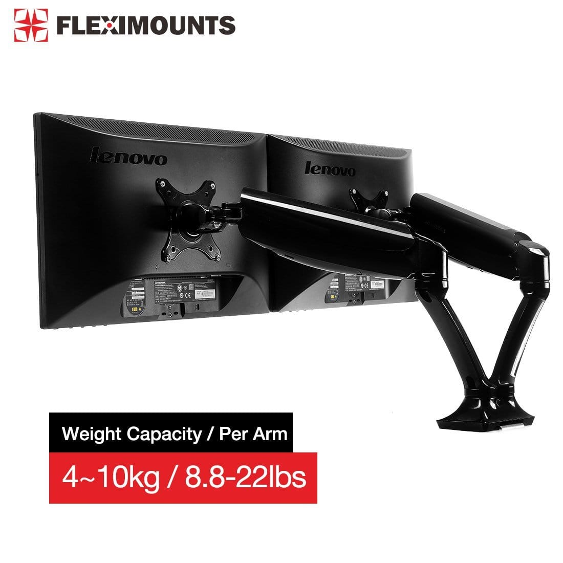 Fleximounts M6h Adjustable Dual Monitor Arm Desk Mount