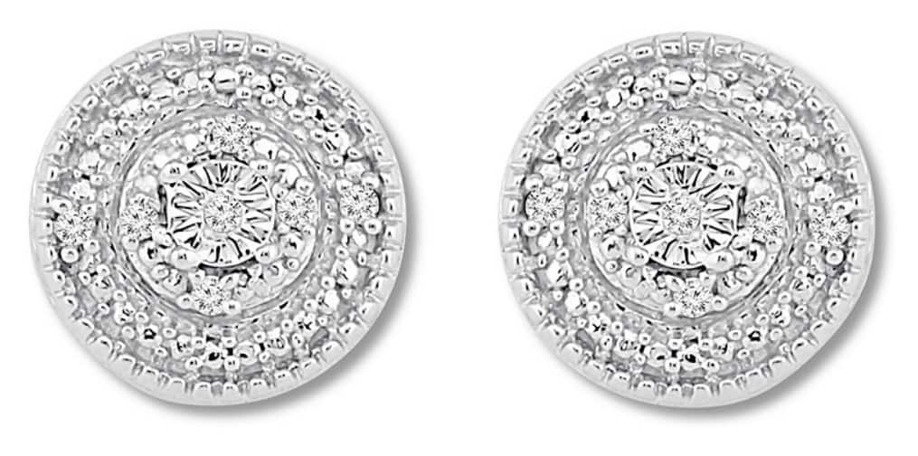Kay Jewelers Diamond Stud Earrings in Sterling Silver - Slickdeals.net