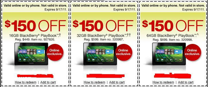 $150/$200 off any BlackBerry Playbook - Staples online exckusive - 16GB lowest for $219 + $100 Master GC