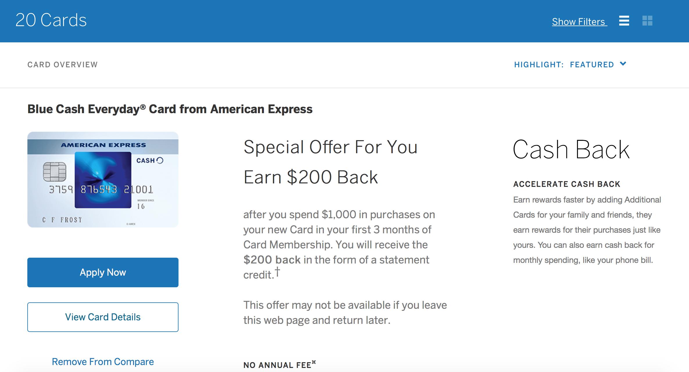 Amex Blue Cash Everyday® Card - $200 Signup Bonus [YMMV]