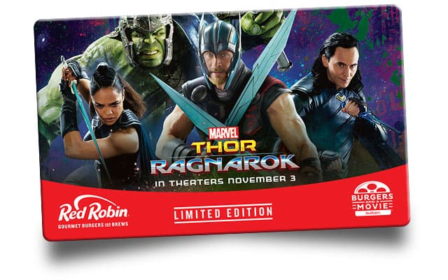 $25 Red Robin Gift Card + $10 Thor:Ragnarok Movie Ticket - $25 @ RedRobin.com