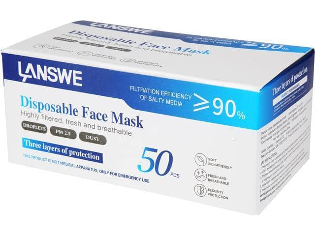 Disposable Face Masks (50 pcs) w/ Free Shipping @Newegg $24.99