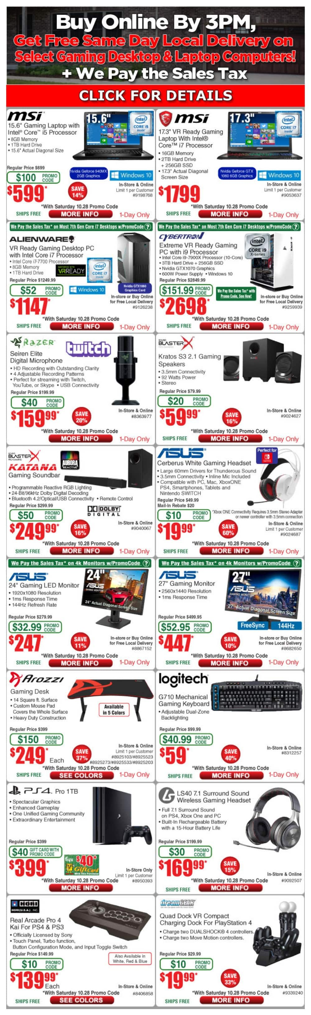 YMMV Fry's 10/28/2017 Weekly Email Deal Gamer Promo Code Sale | Logitech G710 $59 | Asus Cerberus Headset $20