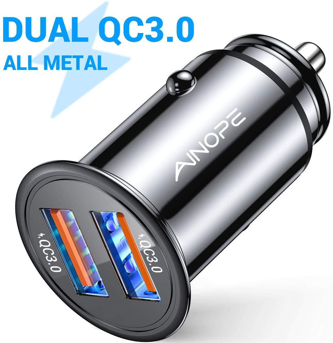 AINOPE mini metal dual QC3.0 USB car charger 36W/6A - $7.44 + FSSS