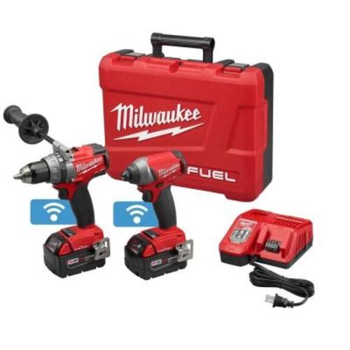Milwaukee M18 One Key Hammer Drill, Impact Driver, 2-5Ah Batteries, Free Rover Light + 9Ah Battery $360