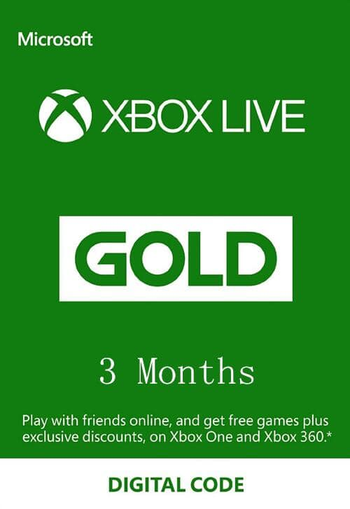 XBOX Live 3 Month Gold Membership Card (Digital) $14.99
