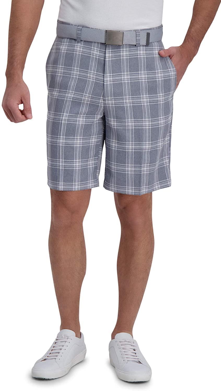 Haggar Men's Cool 18 Pro Stretch Plaid Shorts - $10.00 All Sizes (Slate Blue)