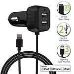 FosPower 6.6A/33W Apple MFI Certified Lightning Car Charger with Dual 2.1 USB Port $12.50 Free Shipping