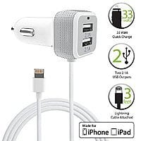 Amazon Deal: FosPower 6.6A/33W Apple MFI Certified Lightning Car Charger with Dual 2.1 USB Port $14 Free Shipping
