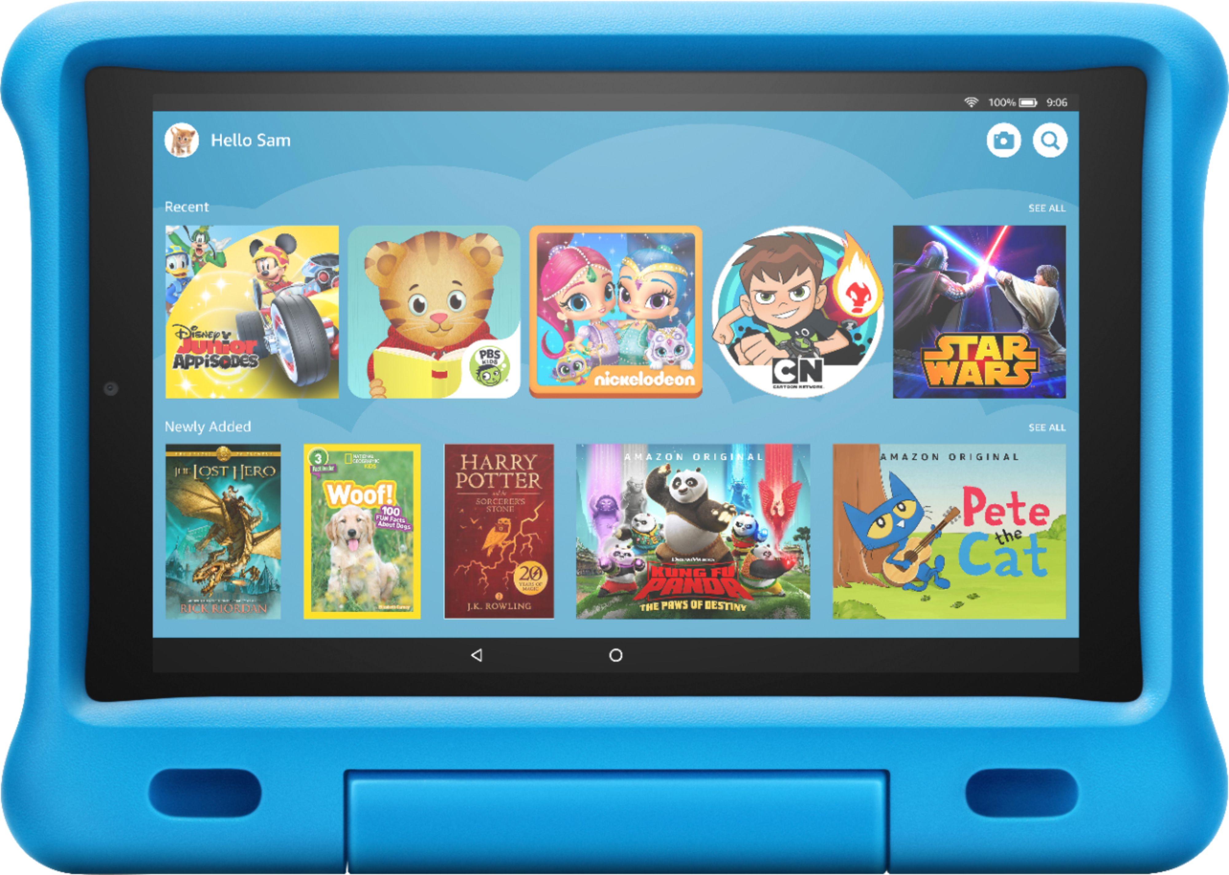 """$140 Amazon Fire HD 10 Kids Edition 2019 release 10.1"""" Tablet 32GB Blue B07KD7K4B1 - Best Buy"""