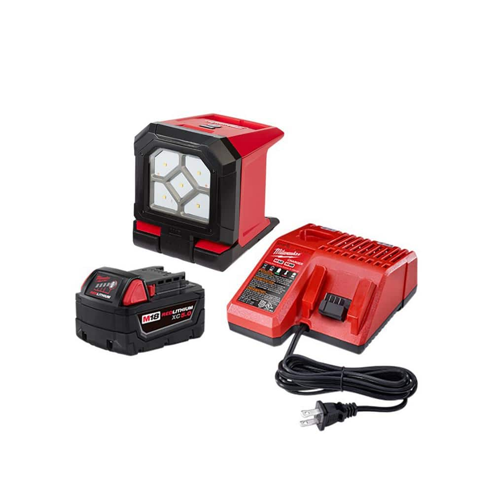 Milwaukee M18 1500 Lumen Rover LED Flood Light + 5.0 Ah Battery and Charger $129