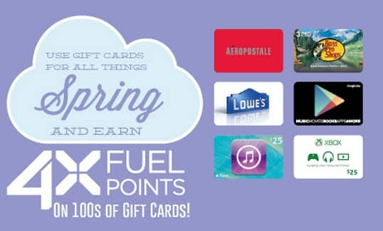 Kroger 4X Fuel Rewards returning March 22 2015- April 5 2015 on hundreds of Gift Cards.   INCLUDES    QFC, Dillons, Smiths, Fry's and King Soopers.