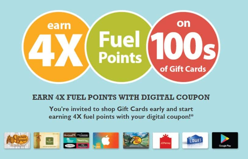 NEW     4X Fuel Points on Gift Cards at Kroger thru 8/9/2016
