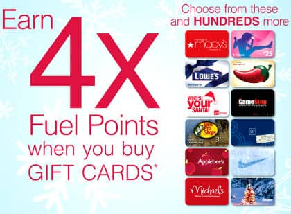 4x FUEL POINTS AT KROGER ON SELECT GIFT CARDS  Exp 07/19/2017