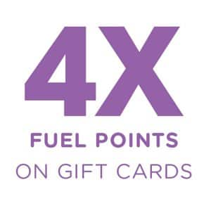 4X Fuel points on gift cards at Kroger. Ends 9/22/2020
