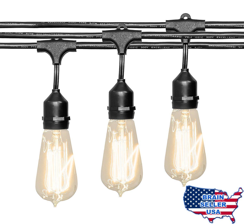 Outdoor String Lights (48 ft.) with Edison Bulbs - Heavy Duty Garden Hang $17.93